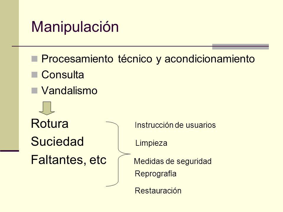 Manipulación Procesamiento técnico y acondicionamiento Consulta Vandalismo Rotura Instrucción de usuarios Suciedad Limpieza Faltantes, etc Medidas de seguridad Reprografía Restauración