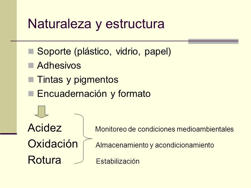 Naturaleza y estructura Soporte (plástico, vidrio, papel) Adhesivos Tintas y pigmentos Encuadernación y formato Acidez Monitoreo de condiciones medioa