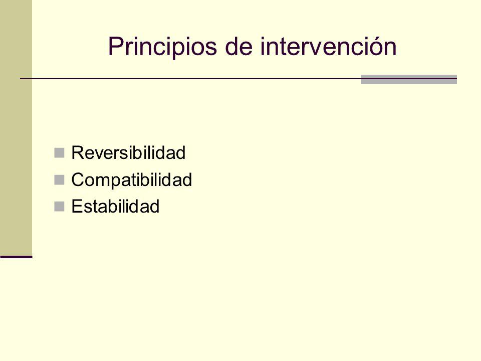 Principios de intervención Reversibilidad Compatibilidad Estabilidad