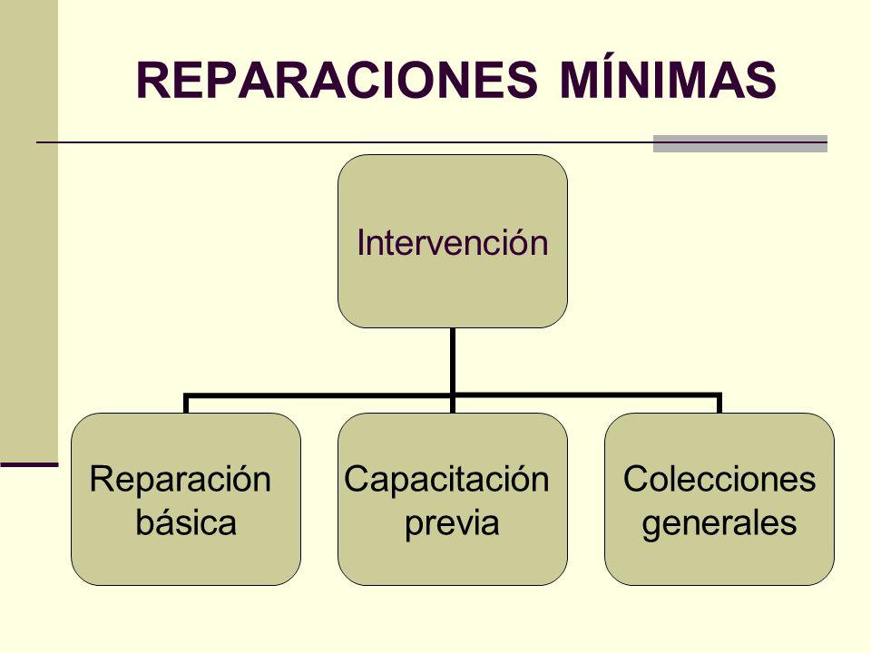 REPARACIONES MÍNIMAS Intervención Reparación básica Capacitación previa Colecciones generales