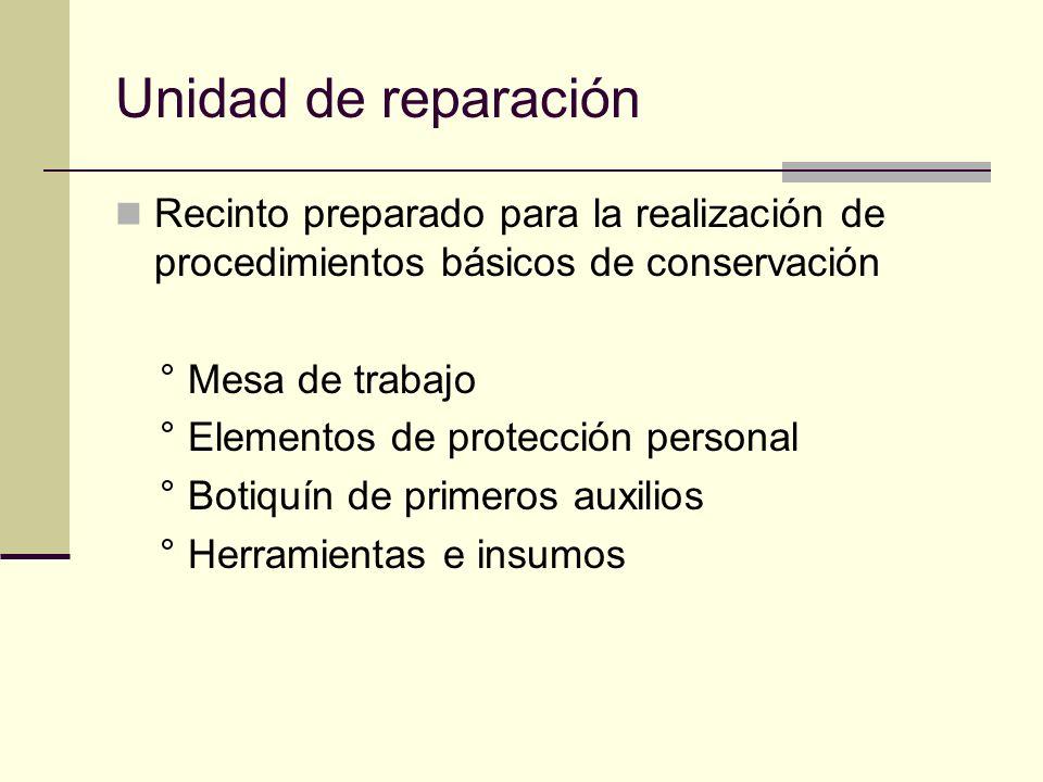 Unidad de reparación Recinto preparado para la realización de procedimientos básicos de conservación ° Mesa de trabajo ° Elementos de protección personal ° Botiquín de primeros auxilios ° Herramientas e insumos