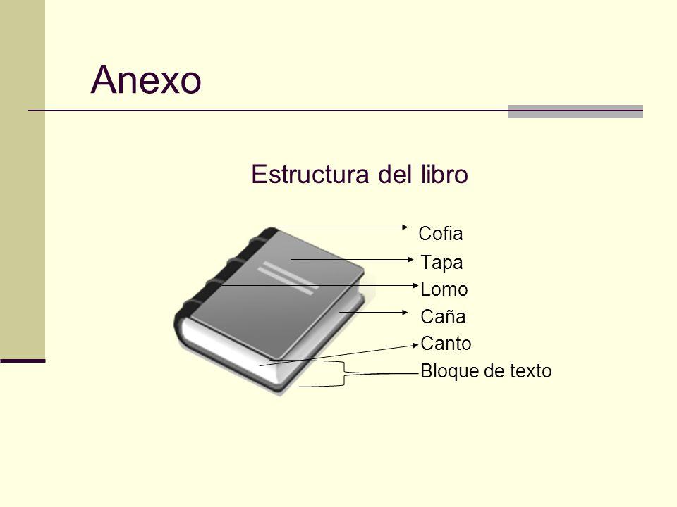 Estructura del libro Cofia Tapa Lomo Caña Canto Bloque de texto Anexo