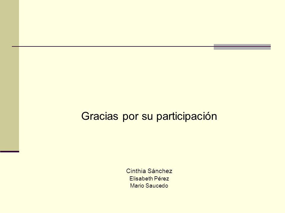 Gracias por su participación Cinthia Sánchez Elisabeth Pérez Mario Saucedo