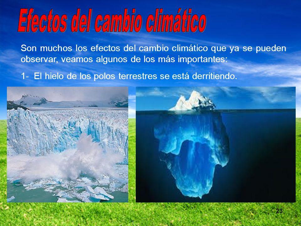 23 Son muchos los efectos del cambio climático que ya se pueden observar, veamos algunos de los más importantes: 1- El hielo de los polos terrestres s