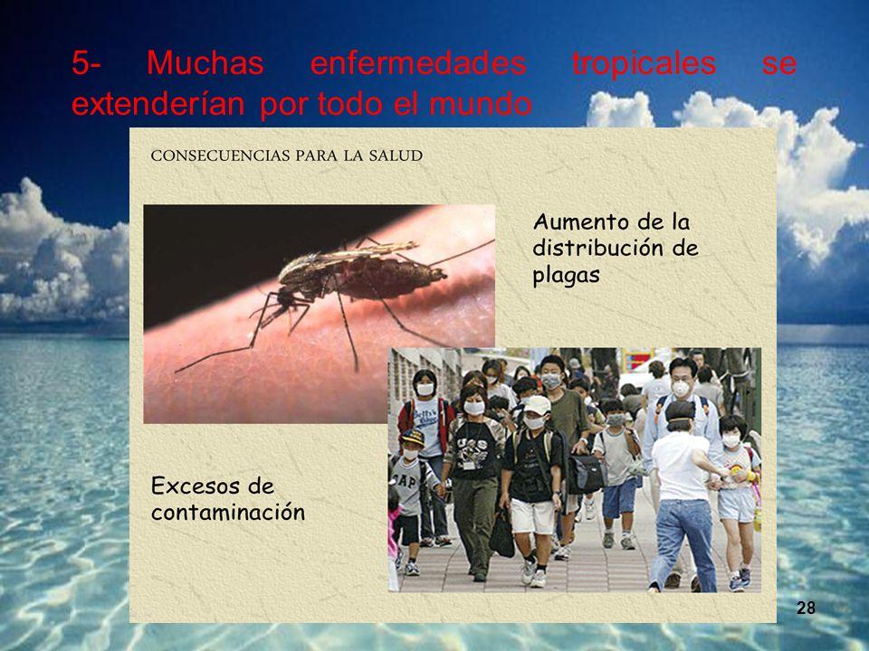 28 5- Muchas enfermedades tropicales se extenderían por todo el mundo.