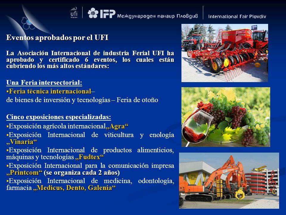 Eventos aprobados por el UFI La Asociación Internacional de industria Ferial UFI ha aprobado y certificado 6 eventos, los cuales están cubriendo los m