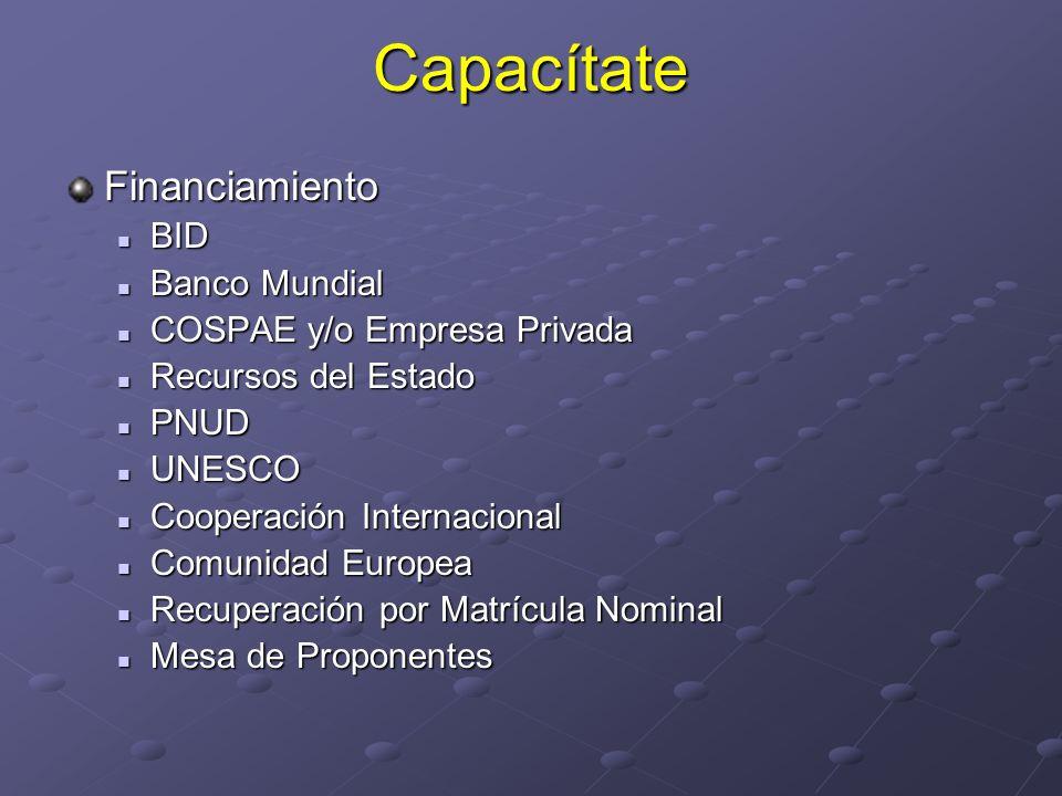 CapacítateFinanciamiento BID BID Banco Mundial Banco Mundial COSPAE y/o Empresa Privada COSPAE y/o Empresa Privada Recursos del Estado Recursos del Es