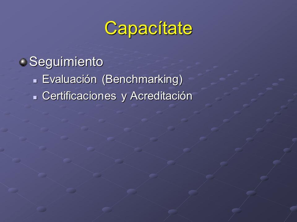 Capacítate Seguimiento Evaluación (Benchmarking) Evaluación (Benchmarking) Certificaciones y Acreditación Certificaciones y Acreditación