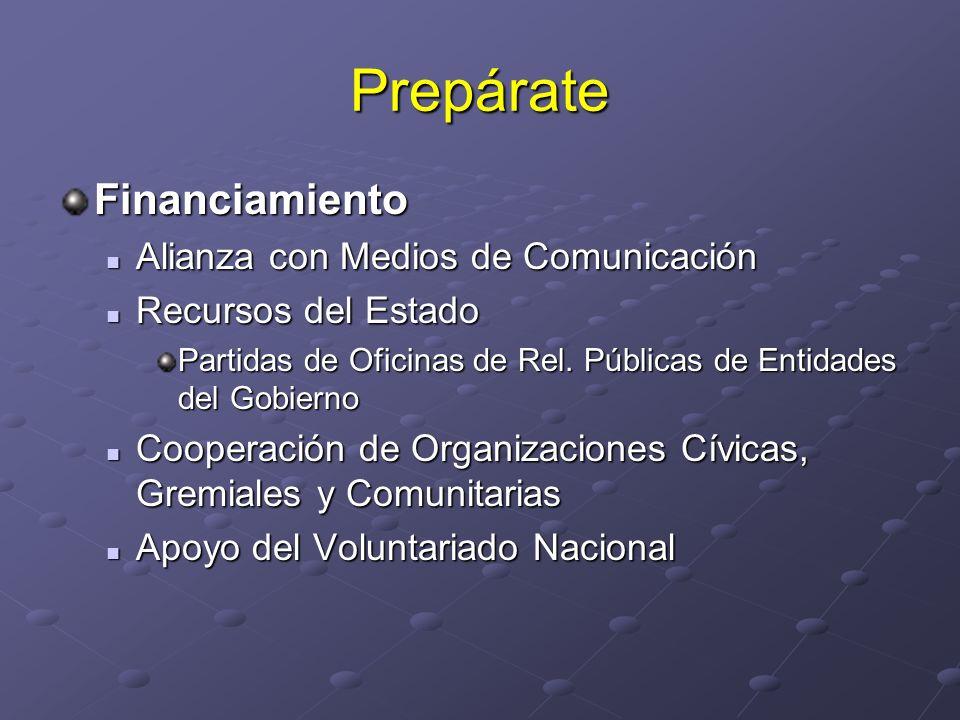 Prepárate Financiamiento Alianza con Medios de Comunicación Alianza con Medios de Comunicación Recursos del Estado Recursos del Estado Partidas de Ofi