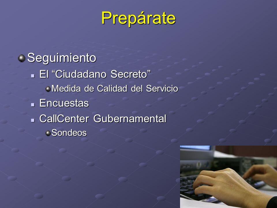 PrepárateSeguimiento El Ciudadano Secreto El Ciudadano Secreto Medida de Calidad del Servicio Encuestas Encuestas CallCenter Gubernamental CallCenter