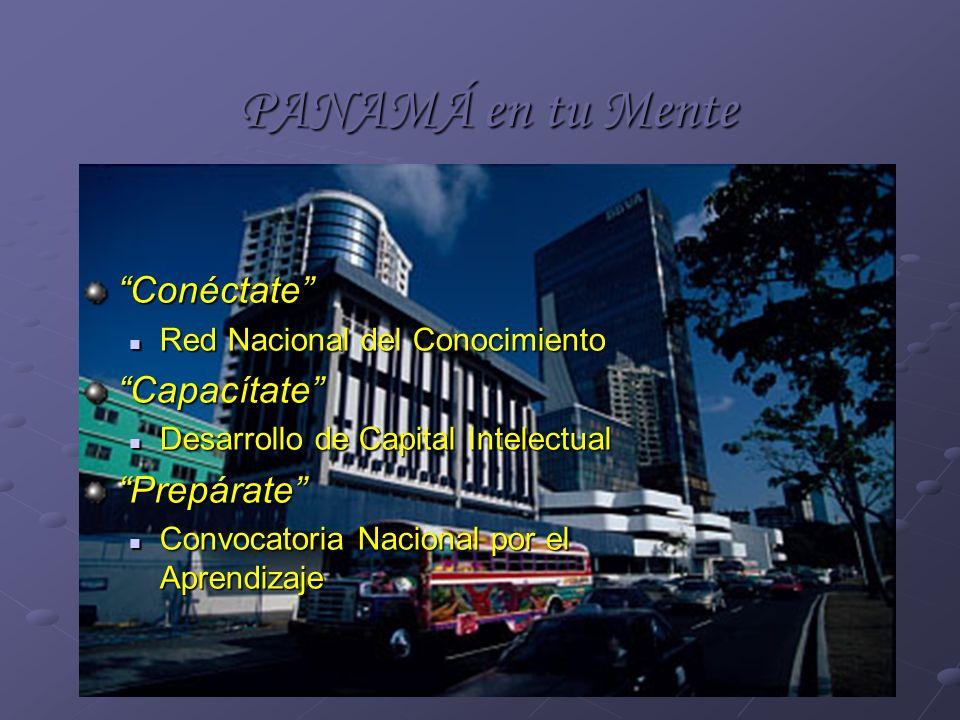 PANAMÁ en tu Mente Conéctate Red Nacional del Conocimiento Red Nacional del ConocimientoCapacítate Desarrollo de Capital Intelectual Desarrollo de Cap