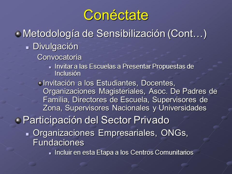 Conéctate Metodología de Sensibilización (Cont…) Divulgación DivulgaciónConvocatoria Invitar a las Escuelas a Presentar Propuestas de Inclusión Invita