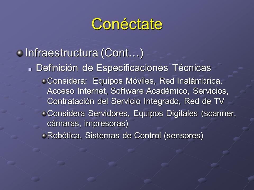 Conéctate Infraestructura (Cont…) Adecuación Adecuación Construcción de Aulas en donde se Requieren Eléctrica, Comunicaciones, Espacio Físico, Aire Acondicionado, Seguridad Proyecto Celdas Solares y Com.