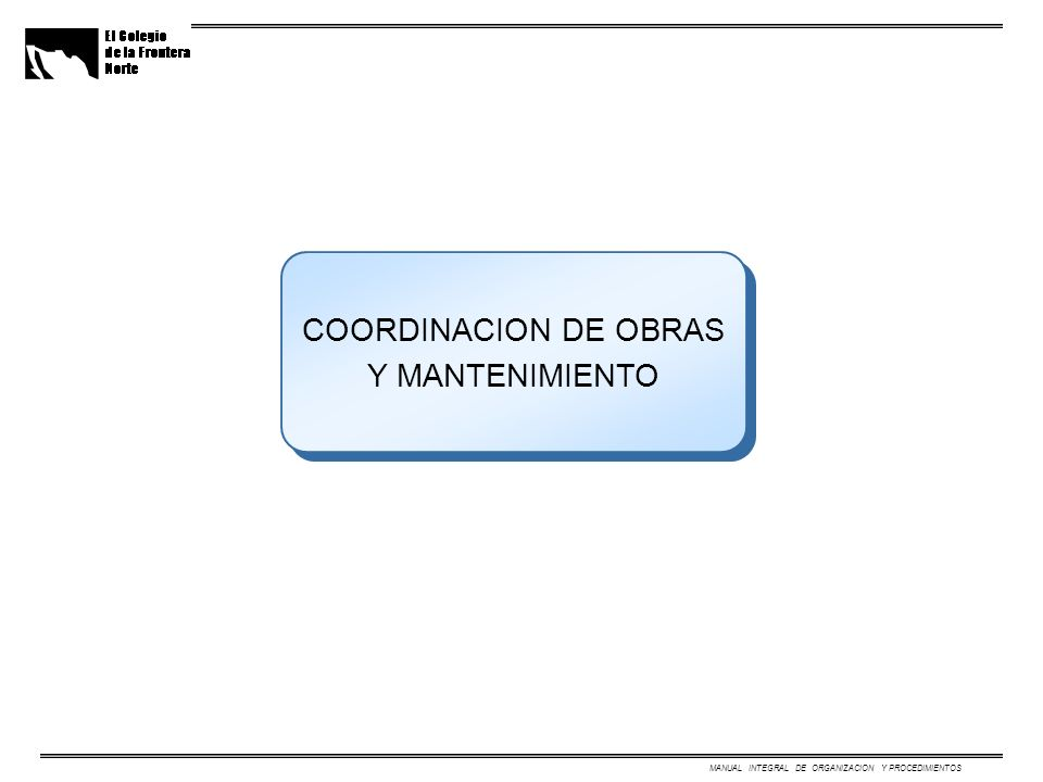 COORDINACION DE OBRAS Y MANTENIMIENTO MANUAL INTEGRAL DE ORGANIZACION Y PROCEDIMIENTOS