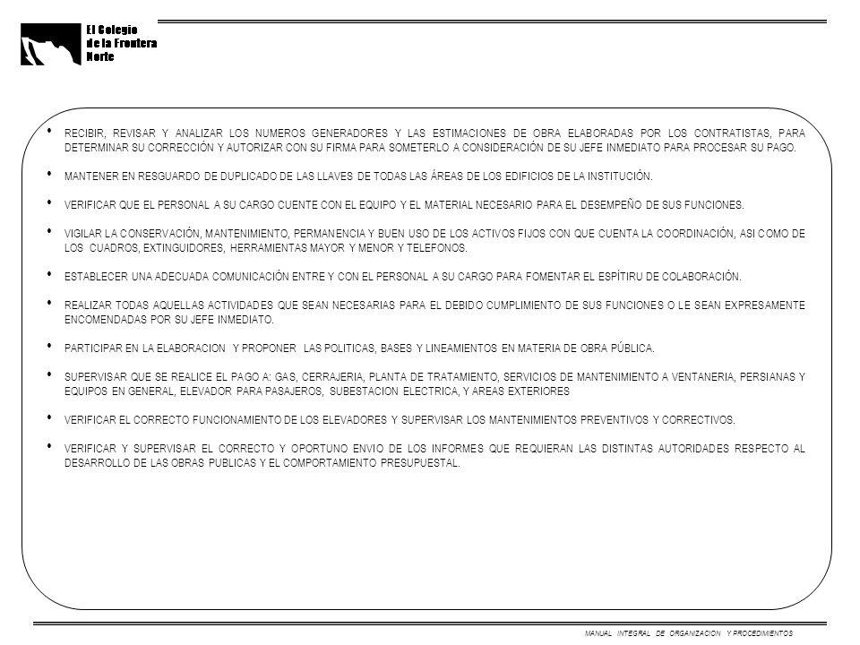MANUAL INTEGRAL DE ORGANIZACION Y PROCEDIMIENTOS RECIBIR, REVISAR Y ANALIZAR LOS NUMEROS GENERADORES Y LAS ESTIMACIONES DE OBRA ELABORADAS POR LOS CONTRATISTAS, PARA DETERMINAR SU CORRECCIÓN Y AUTORIZAR CON SU FIRMA PARA SOMETERLO A CONSIDERACIÓN DE SU JEFE INMEDIATO PARA PROCESAR SU PAGO.