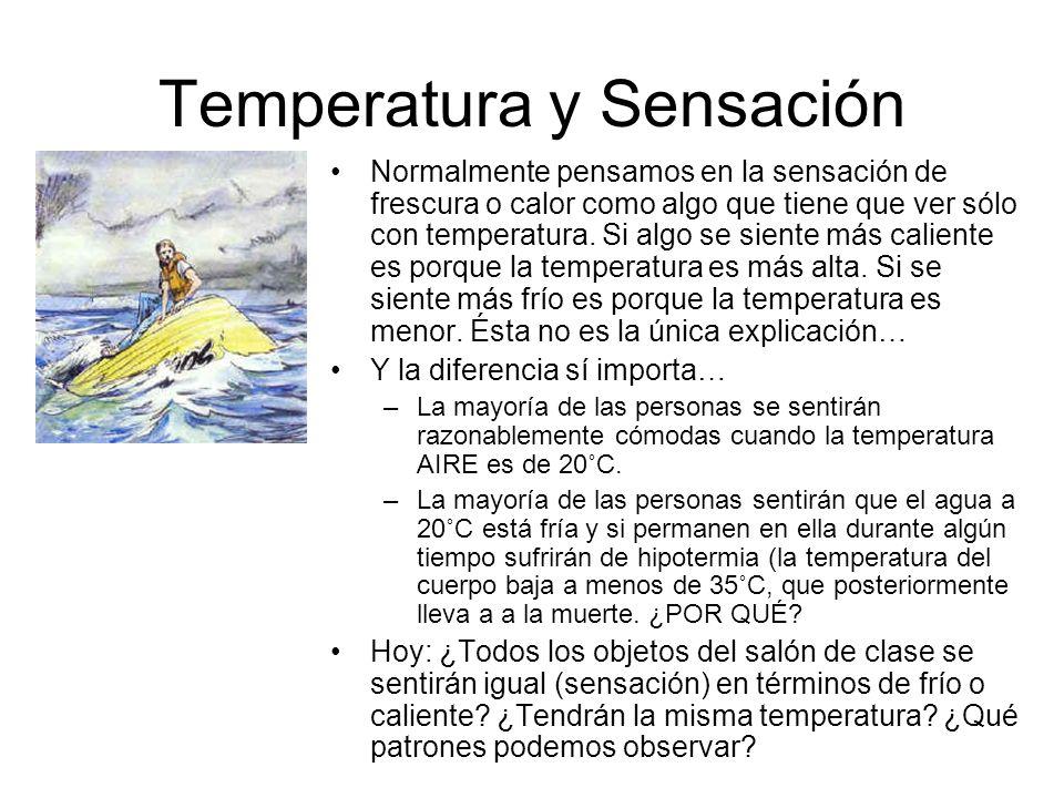 Temperatura y Sensación Normalmente pensamos en la sensación de frescura o calor como algo que tiene que ver sólo con temperatura. Si algo se siente m