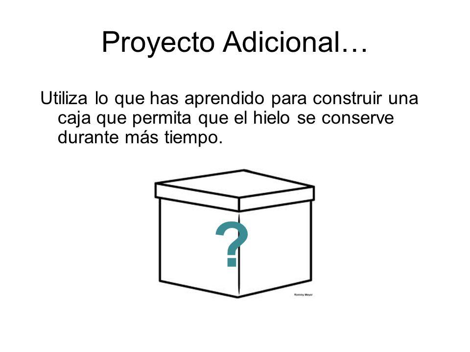Proyecto Adicional… Utiliza lo que has aprendido para construir una caja que permita que el hielo se conserve durante más tiempo. ?