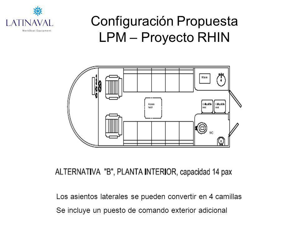 Configuración Propuesta LPM – Proyecto RHIN Los asientos laterales se pueden convertir en 4 camillas Se incluye un puesto de comando exterior adicional