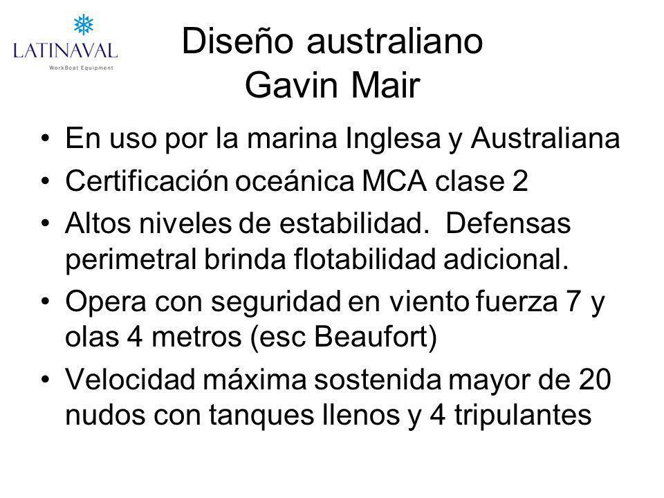 Diseño australiano Gavin Mair En uso por la marina Inglesa y Australiana Certificación oceánica MCA clase 2 Altos niveles de estabilidad. Defensas per