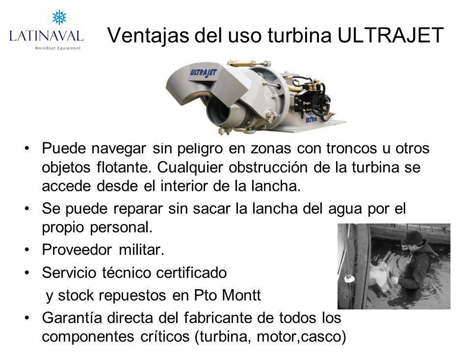 Ventajas del uso turbina ULTRAJET Puede navegar sin peligro en zonas con troncos u otros objetos flotante. Cualquier obstrucción de la turbina se acce