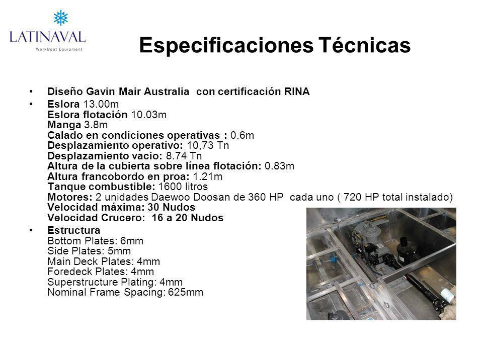 Especificaciones Técnicas Diseño Gavin Mair Australia con certificación RINA Eslora 13.00m Eslora flotación 10.03m Manga 3.8m Calado en condiciones op