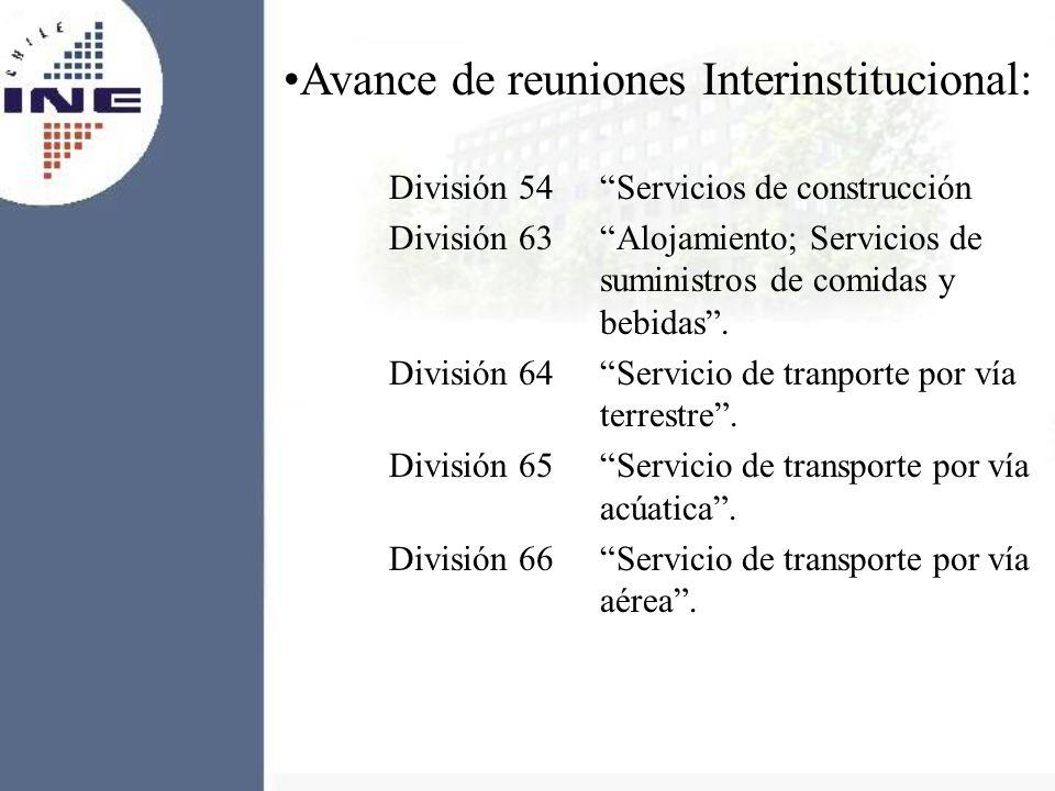 Avance de reuniones Interinstitucional: División 54 Servicios de construcción División 63Alojamiento; Servicios de suministros de comidas y bebidas. D