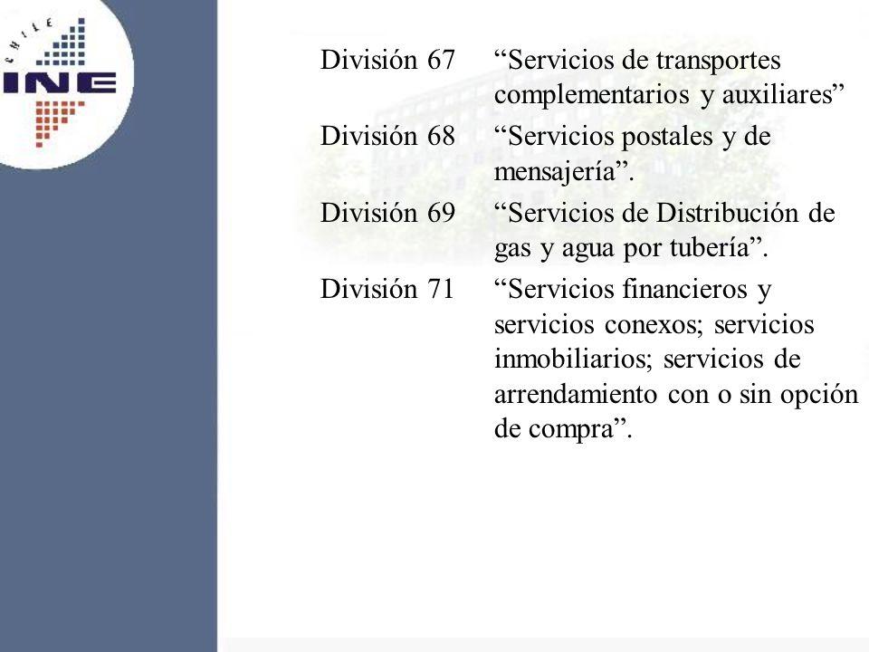 División 67Servicios de transportes complementarios y auxiliares División 68Servicios postales y de mensajería. División 69Servicios de Distribución d