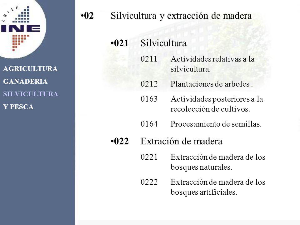 AGRICULTURA GANADERIA SILVICULTURA Y PESCA 021Silvicultura 0211Actividades relativas a la silvicultura. 0212Plantaciones de arboles. 0163Actividades p
