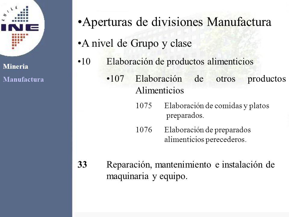 Mineria Manufactura Aperturas de divisiones Manufactura A nivel de Grupo y clase 10Elaboración de productos alimenticios 107Elaboración de otros produ