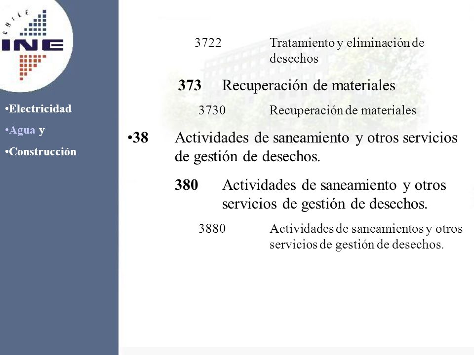 Electricidad Agua y Construcción 3722Tratamiento y eliminación de desechos 373Recuperación de materiales 3730Recuperación de materiales 38Actividades