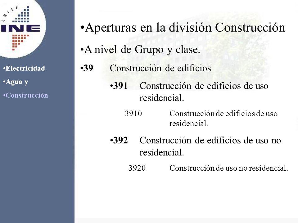Electricidad Agua y Construcción Aperturas en la división Construcción A nivel de Grupo y clase. 39Construcción de edificios 391Construcción de edific