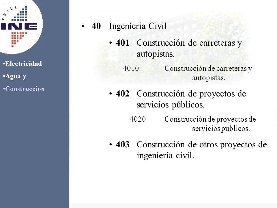 40Ingeníeria Civil 401Construcción de carreteras y autopistas. 4010Construcción de carreteras y autopistas. 402Construcción de proyectos de servicios