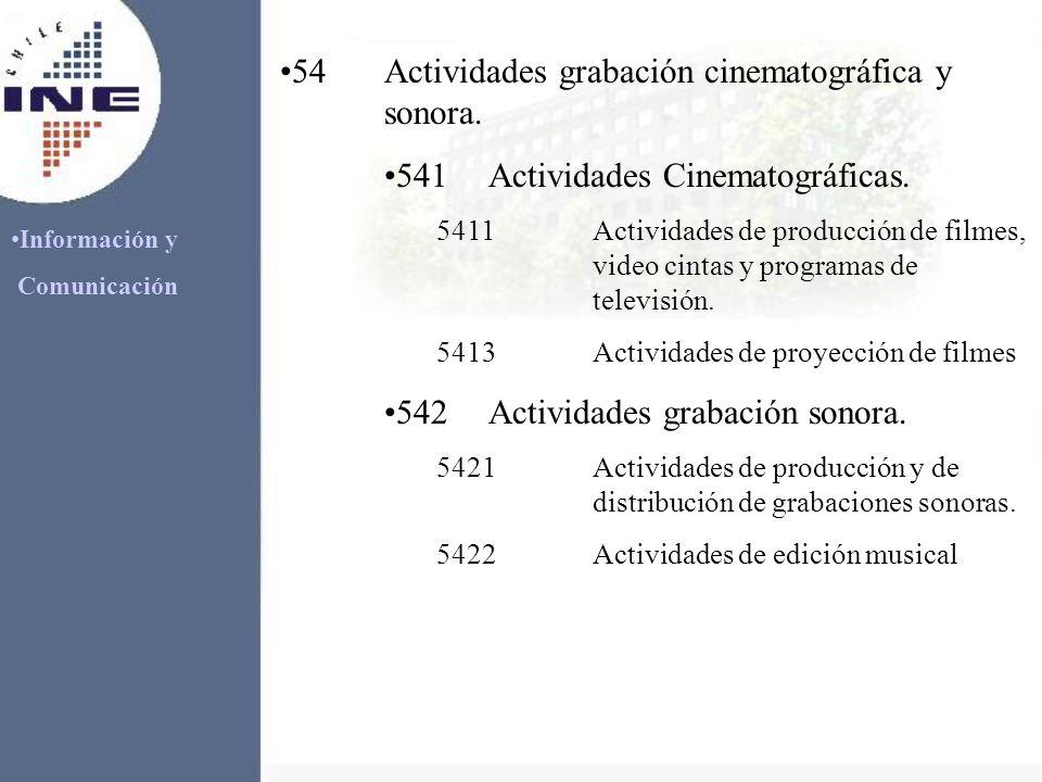 Información y Comunicación 54Actividades grabación cinematográfica y sonora. 541Actividades Cinematográficas. 5411Actividades de producción de filmes,