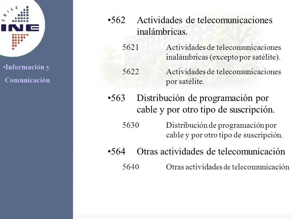 Información y Comunicación 562Actividades de telecomunicaciones inalámbricas. 5621Actividades de telecomunicaciones inalámbricas (excepto por satélite