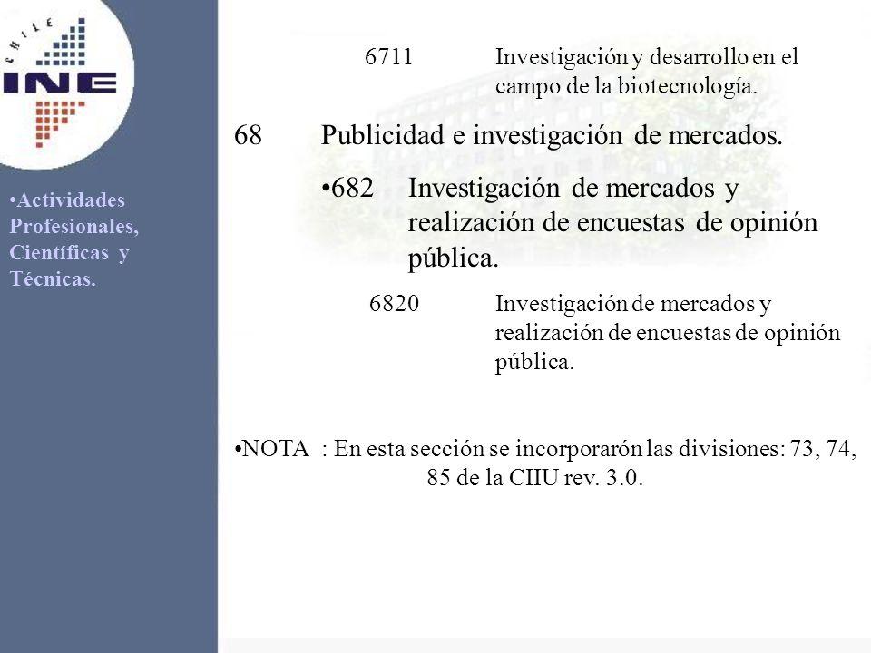 Actividades Profesionales, Científicas y Técnicas. 6711Investigación y desarrollo en el campo de la biotecnología. 68Publicidad e investigación de mer