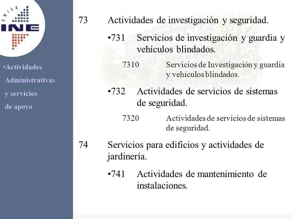 Actividades Administrativas y servicios de apoyo 73Actividades de investigación y seguridad. 731Servicios de investigación y guardia y vehículos blind