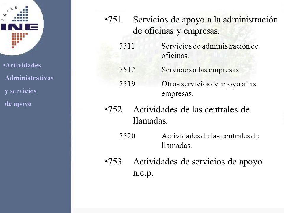 Actividades Administrativas y servicios de apoyo 751Servicios de apoyo a la administración de oficinas y empresas. 7511Servicios de administración de
