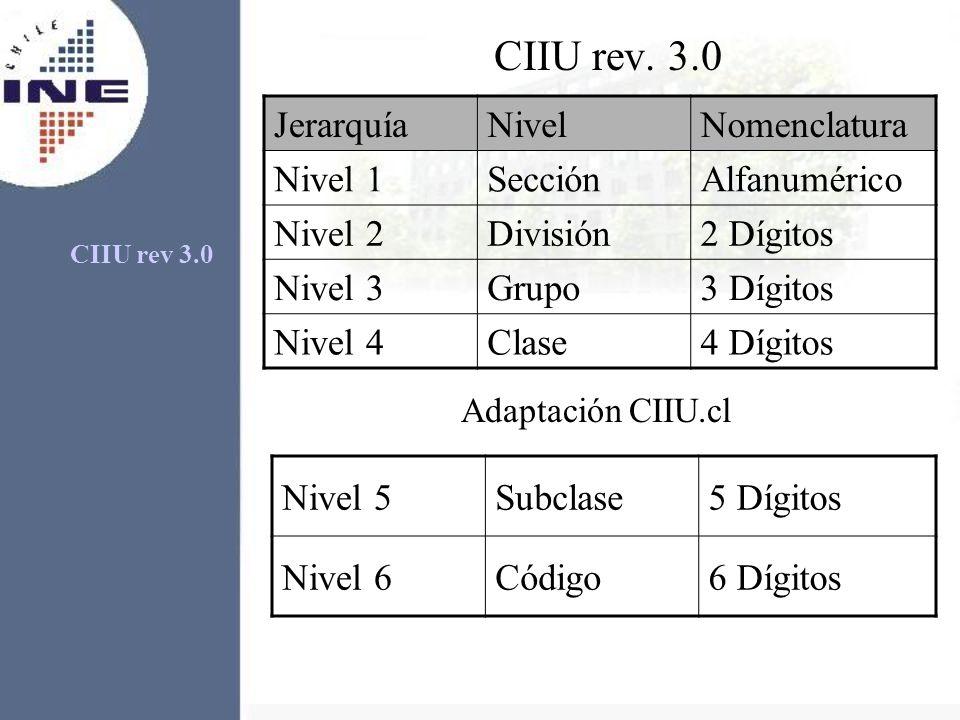 CIIU rev. 3.0 JerarquíaNivelNomenclatura Nivel 1SecciónAlfanumérico Nivel 2División2 Dígitos Nivel 3Grupo3 Dígitos Nivel 4Clase4 Dígitos Adaptación CI