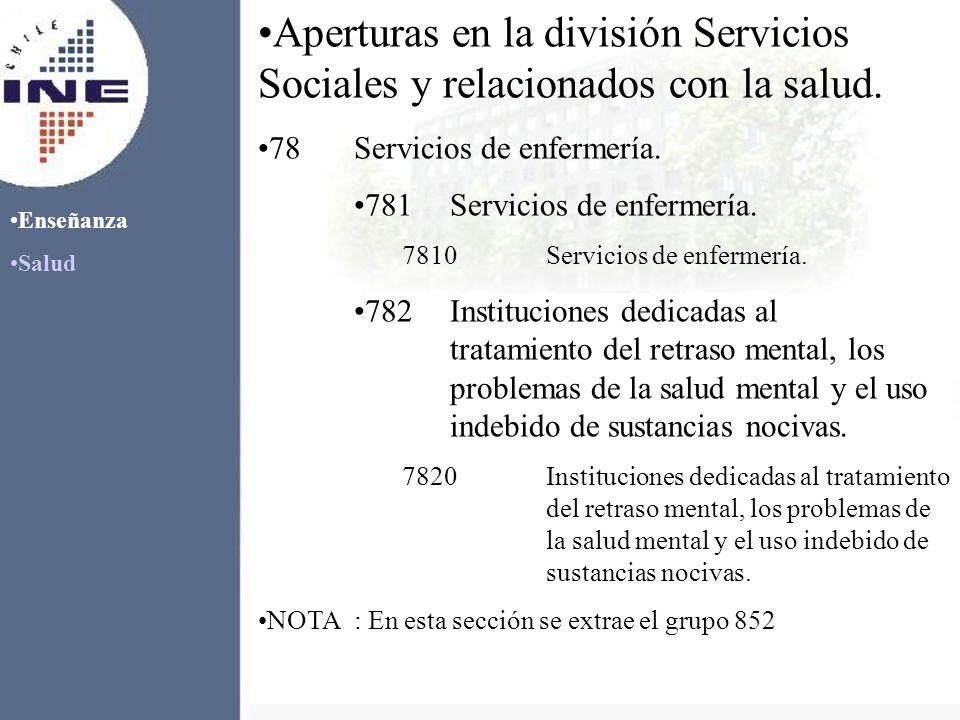 Enseñanza Salud Aperturas en la división Servicios Sociales y relacionados con la salud. 78Servicios de enfermería. 781Servicios de enfermería. 7810Se
