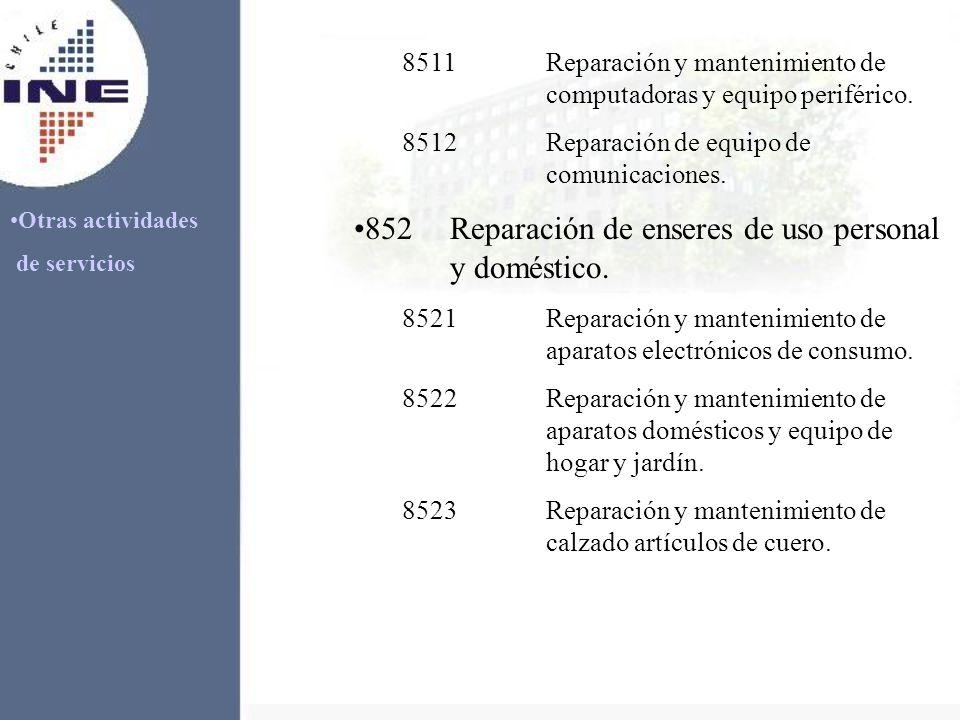 Otras actividades de servicios 8511Reparación y mantenimiento de computadoras y equipo periférico. 8512Reparación de equipo de comunicaciones. 852Repa