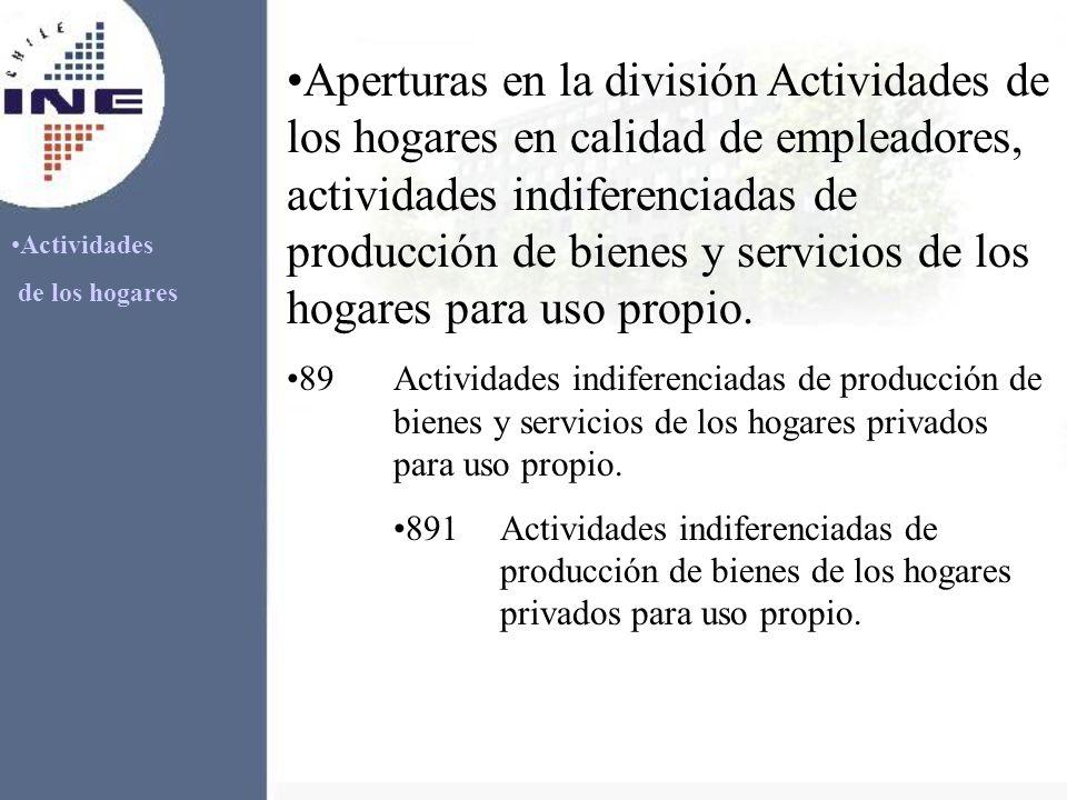 Actividades de los hogares Aperturas en la división Actividades de los hogares en calidad de empleadores, actividades indiferenciadas de producción de