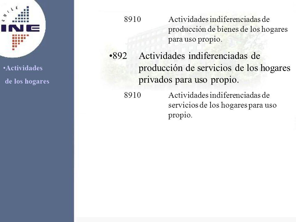 Actividades de los hogares 8910Actividades indiferenciadas de producción de bienes de los hogares para uso propio. 892Actividades indiferenciadas de p