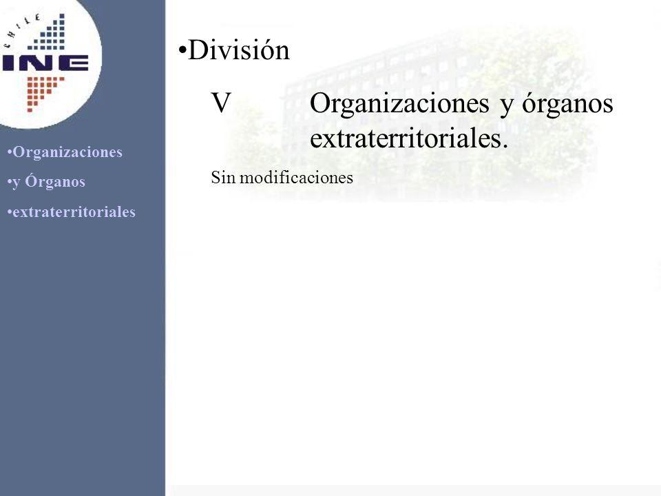 Organizaciones y Órganos extraterritoriales División VOrganizaciones y órganos extraterritoriales. Sin modificaciones