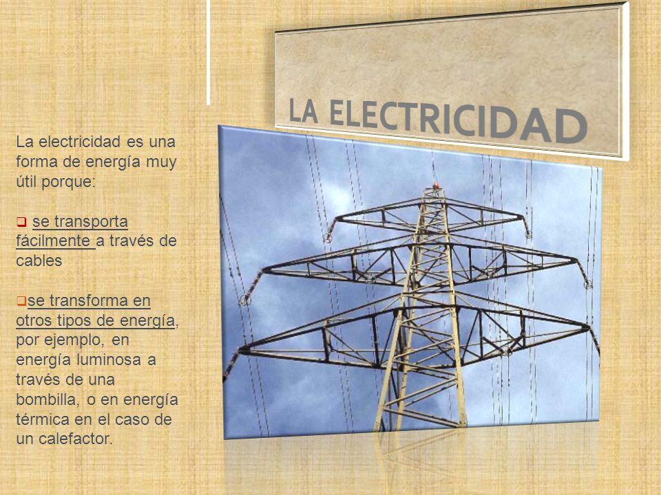 La electricidad es una forma de energía muy útil porque: se transporta fácilmente a través de cables se transforma en otros tipos de energía, por ejemplo, en energía luminosa a través de una bombilla, o en energía térmica en el caso de un calefactor.