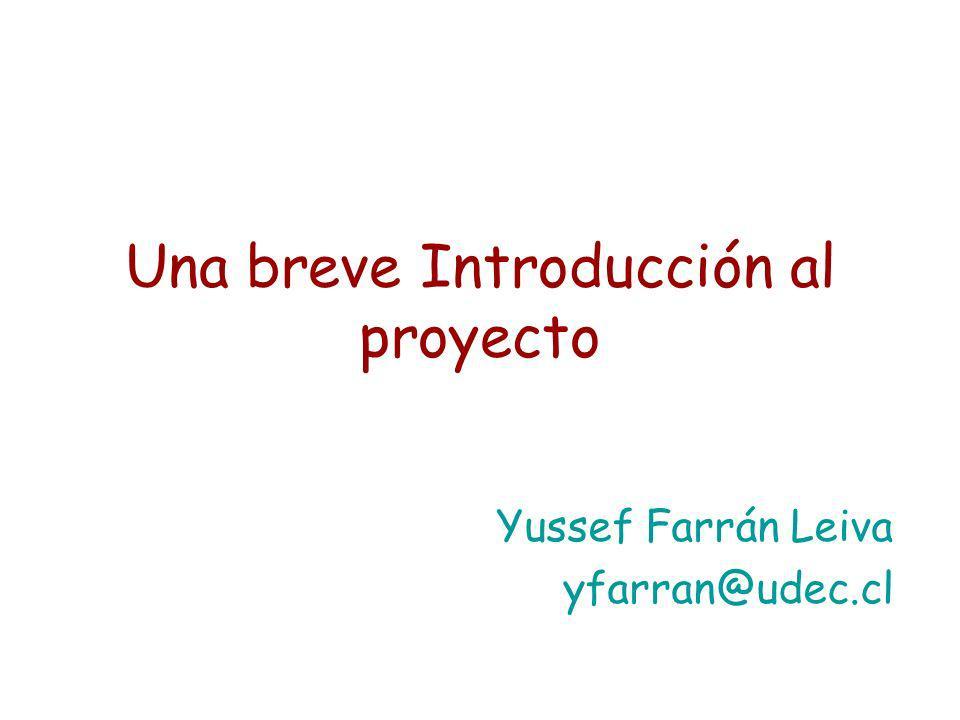 Una breve Introducción al proyecto Yussef Farrán Leiva yfarran@udec.cl