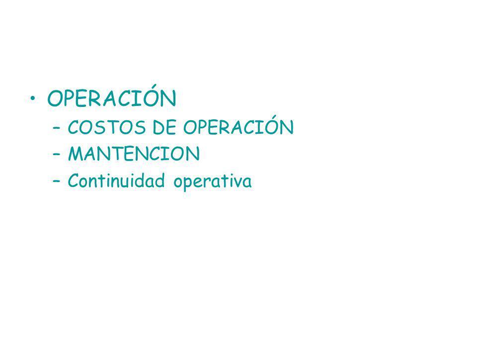 OPERACIÓN –COSTOS DE OPERACIÓN –MANTENCION –Continuidad operativa