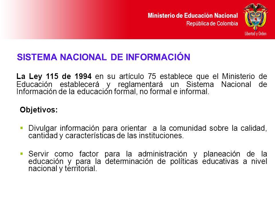 Ministerio de Educación Nacional República de Colombia La Ley 115 de 1994 en su artículo 75 establece que el Ministerio de Educación establecerá y reg