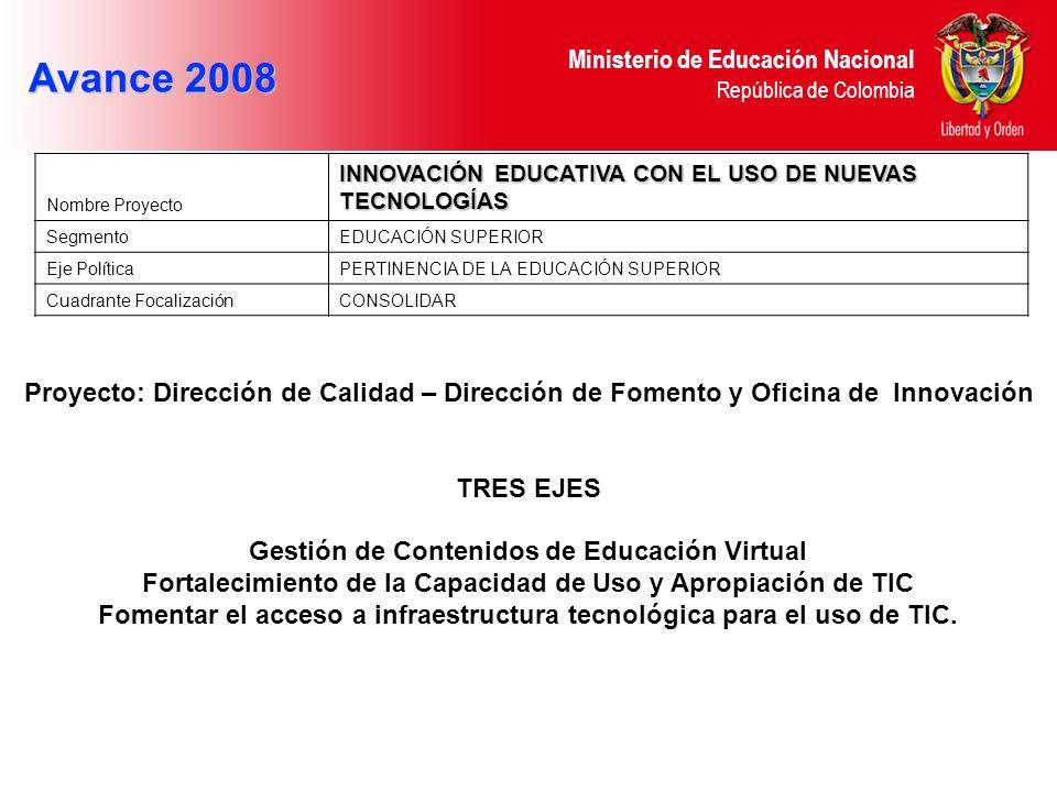 Ministerio de Educación Nacional República de Colombia Avance 2008 Nombre Proyecto INNOVACIÓN EDUCATIVA CON EL USO DE NUEVAS TECNOLOGÍAS SegmentoEDUCA