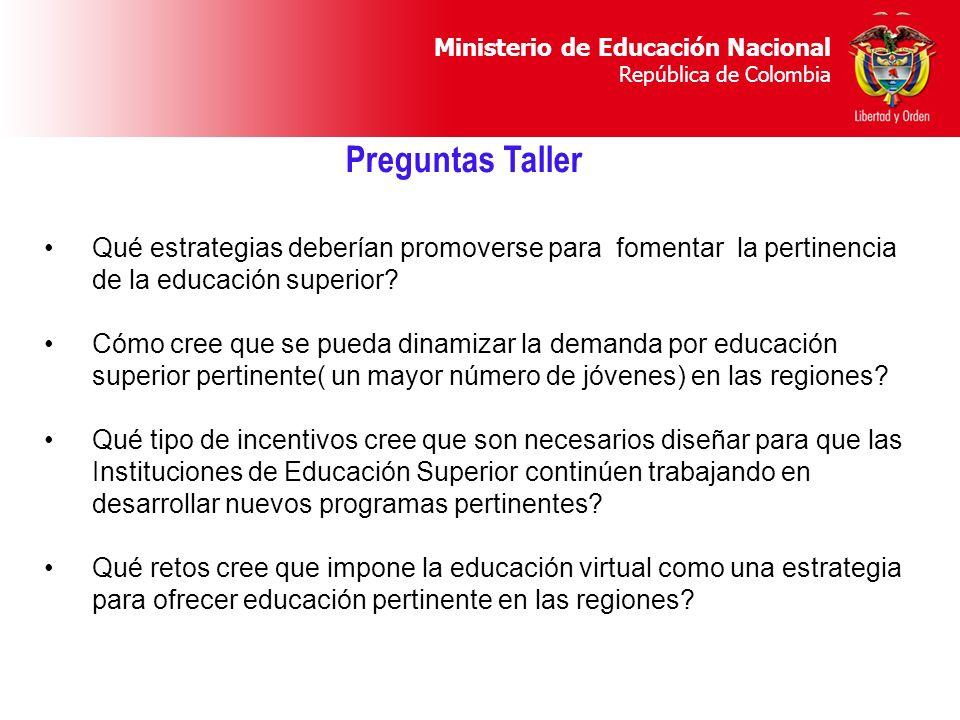 Ministerio de Educación Nacional República de Colombia Qué estrategias deberían promoverse para fomentar la pertinencia de la educación superior? Cómo