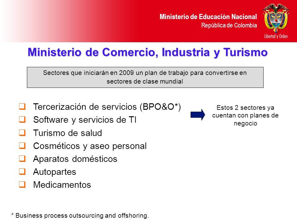 Ministerio de Educación Nacional República de Colombia Ministerio de Comercio, Industria y Turismo Tercerización de servicios (BPO&O*) Software y serv